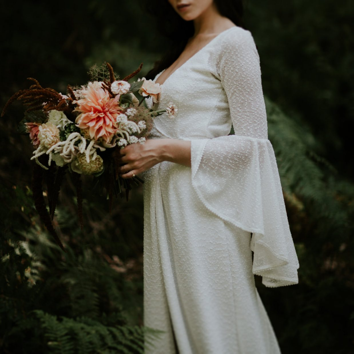 beautiful wedding bouquet with bride