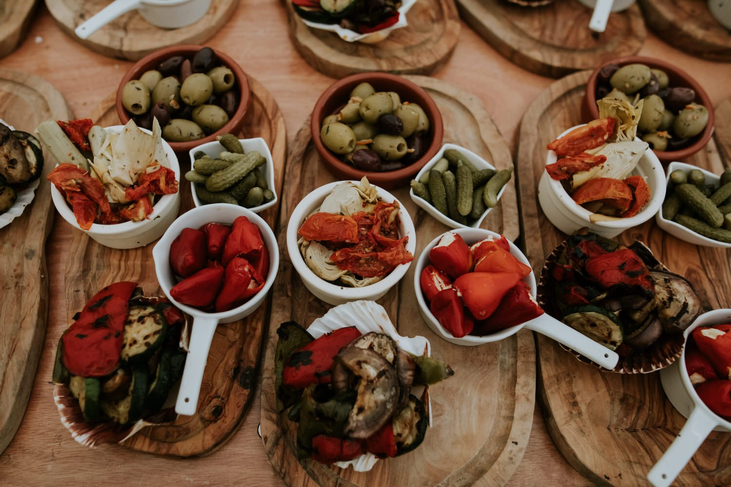 Canapés fresh on wooden table