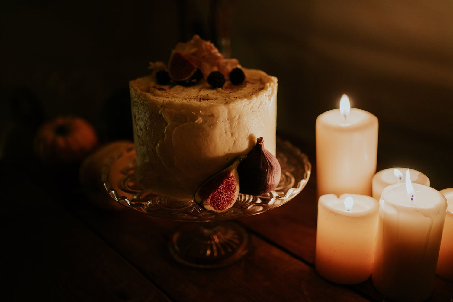 Elopement Cake with Candle Light - wedding food