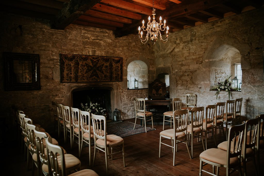 Wedding Ceremony Roomwith Chairs at Pengersick Castle Weddings