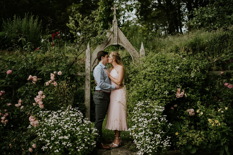 Castle Wedding with Couple in Garden