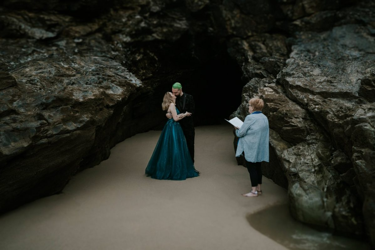 Sea Cave Elopement at Sunrise in Cornwall