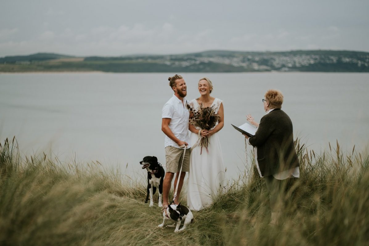 Outdoor Elopement Wedding on the Beach with wild blessing ceremonies
