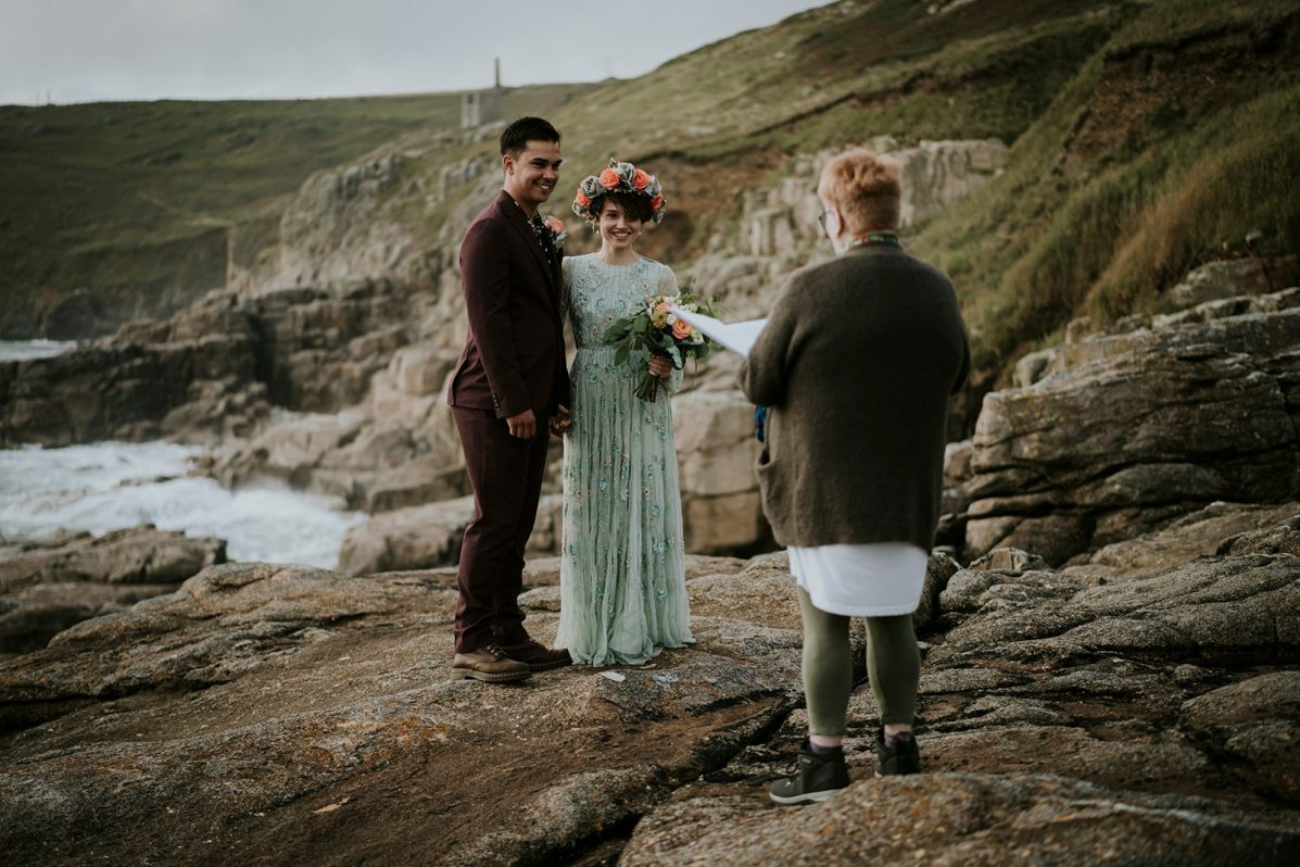 Wedding Ceremony on Cliffs in Cornwall