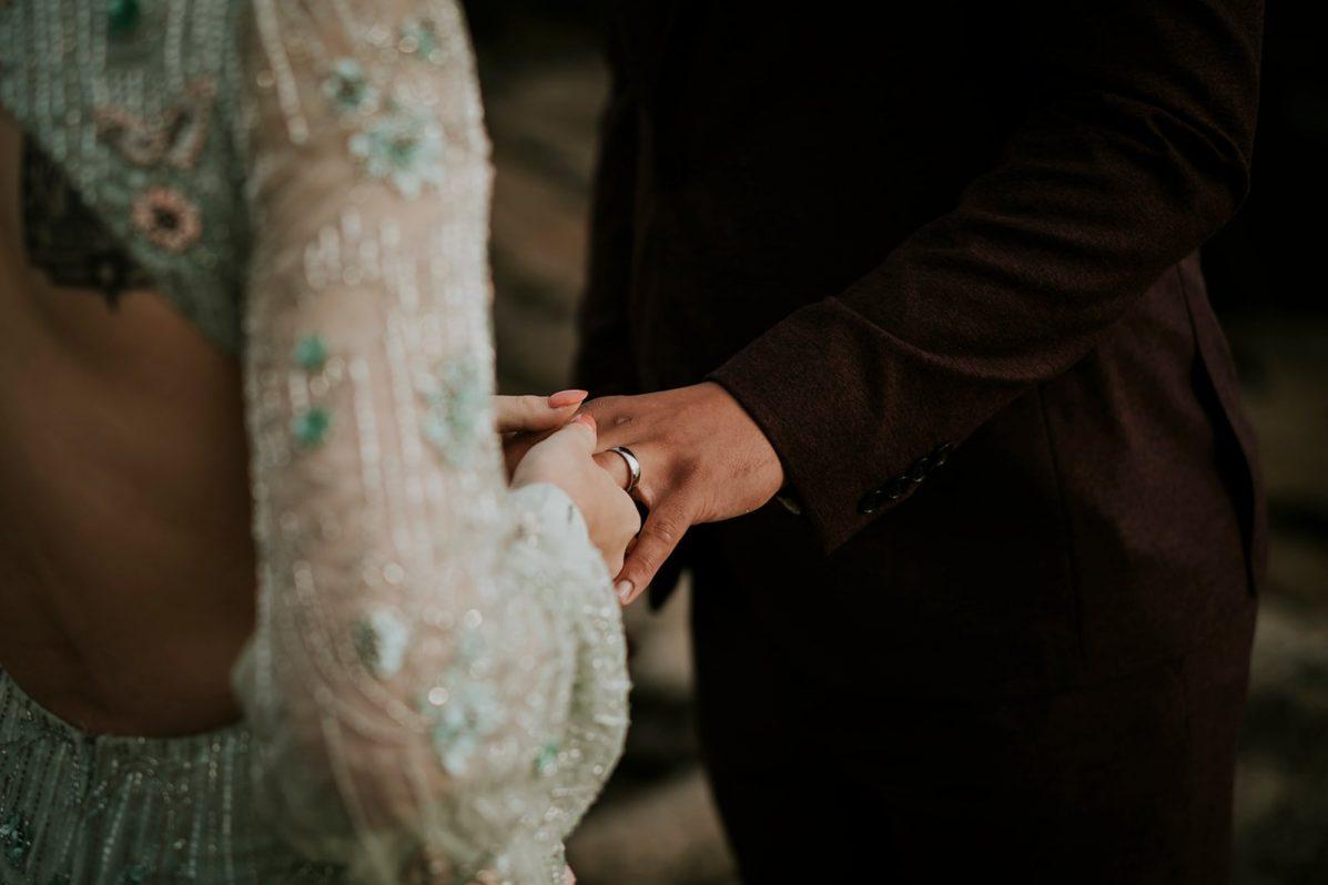 Couple exchanges wedding rings