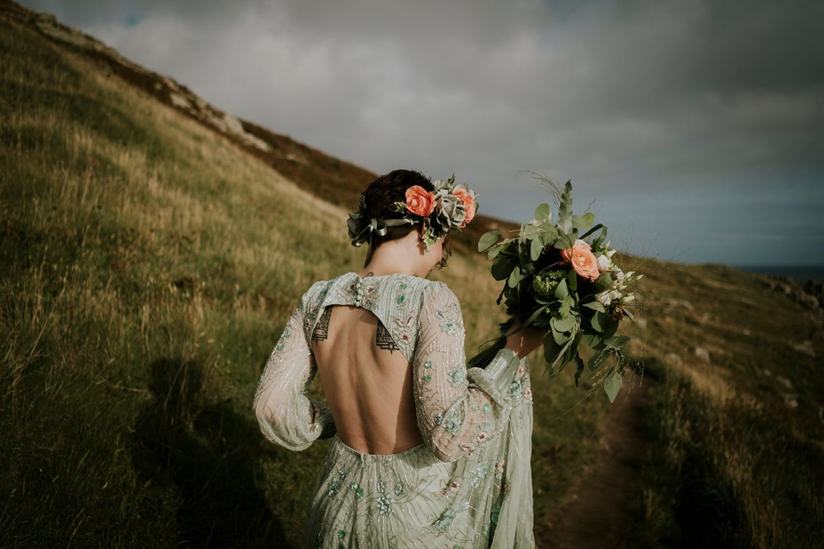 Bride walk to the ceremony in Cornwall